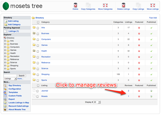 Manage reviews in Mosets Tree